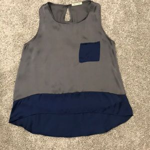 Grey and Navy High Low Tank